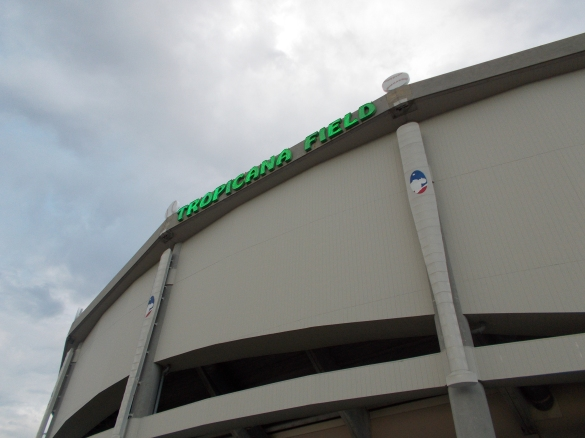 Tropicana Field sign with bats and balls